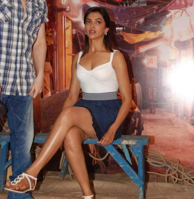Deepika Padukone Hot Thigh Show Stills In White Dress
