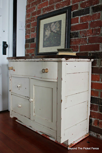 commode, dresser, upcycle, reclaimed wood, old spool, antique, http://bec4-beyondthepicketfence.blogspot.com/2016/03/charming-commode.html