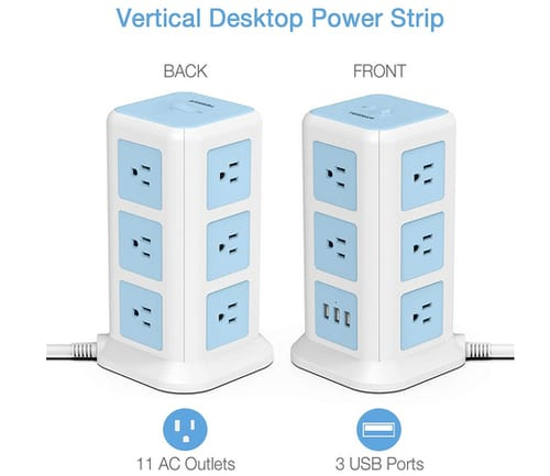 TESSAN Power Strip with 11 Outlets and 3 USB Ports