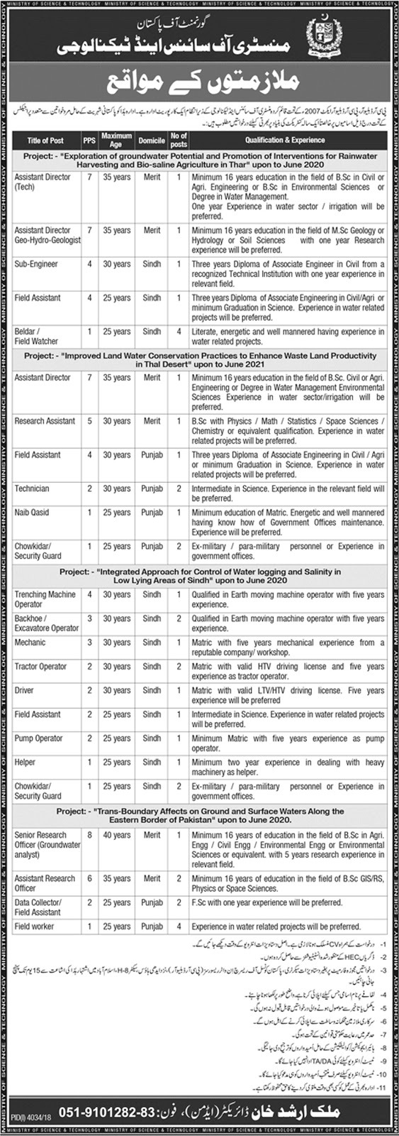 Ministry Of Science And Technology Job 2019, Ministry Of Science And Technology Jobs Govt Of Pakistan 2019 March