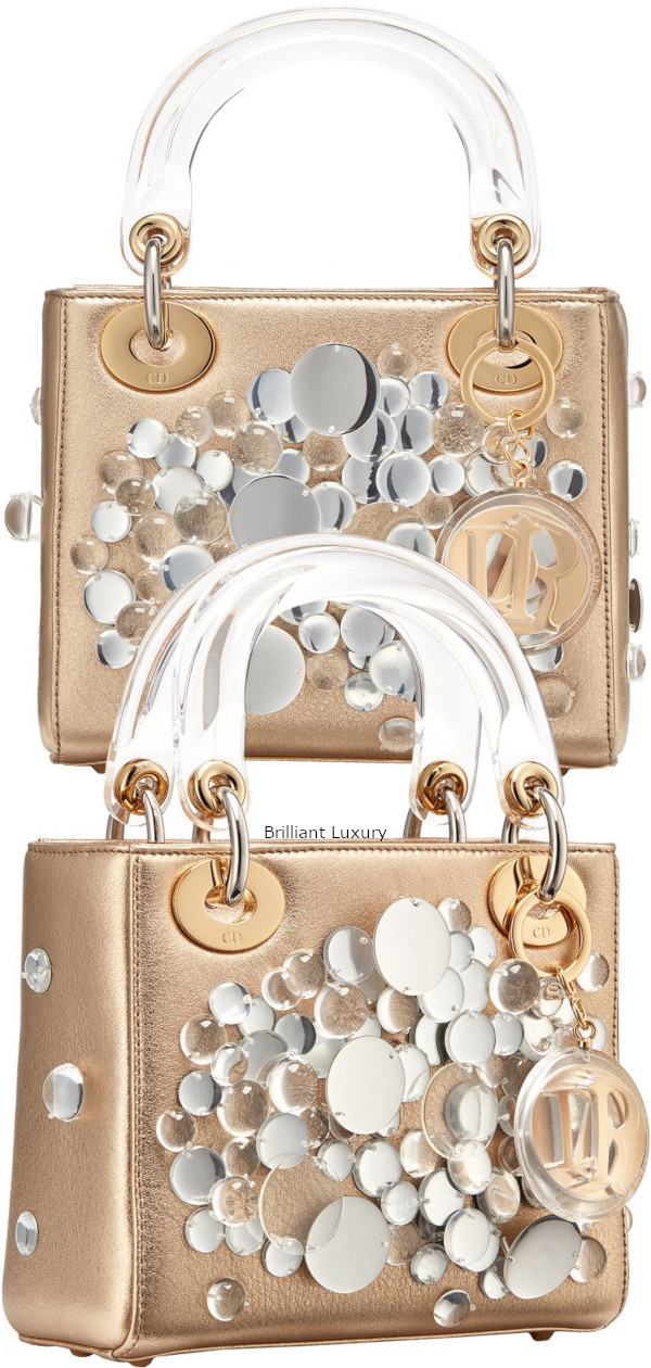 Brilliant Luxury♦Lady Dior bag, gold color metallized lambskin embroidered with transparent lenses, designer Haruka Kojin