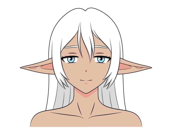 Anime gadis dark elf telinga bawah menggambar