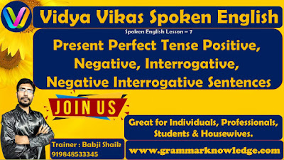 Present Perfect Tense Positive, Negative
