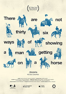 Title of the film with words interspersed by blue drawings of men on horses