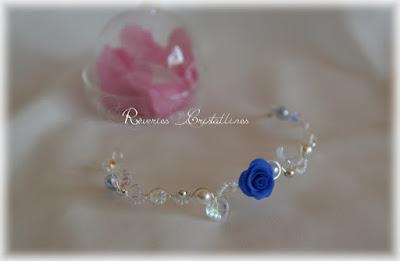 bracelet mariage argent et bleu roi