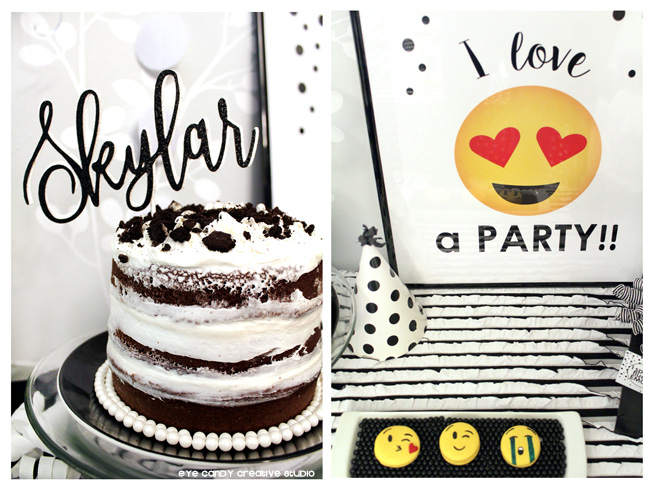 custom name cake topper, emoji party sign, emoji macarons, naked cake