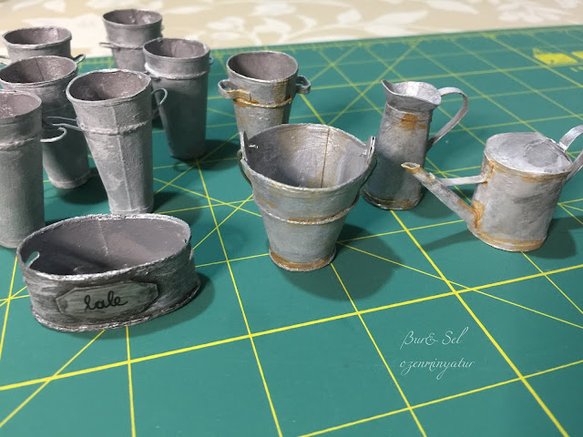 Miniature rusty water buckets and Rusty Tin French Flower Bucket