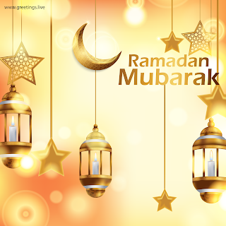 Ramadan Mubarak Images golden fanoos lanterns crescent moon