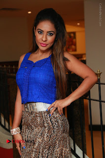 Telugu Actress Srilekha Reddy Latest HD Pos in Sleeveless Blue Top at Muse Art Gallery  0035.JPG