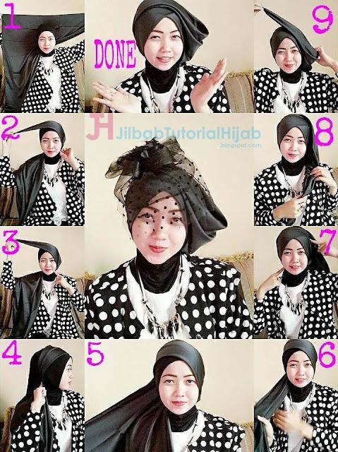 tutorial hijab segi empat modern untuk pesta glamour beserta video