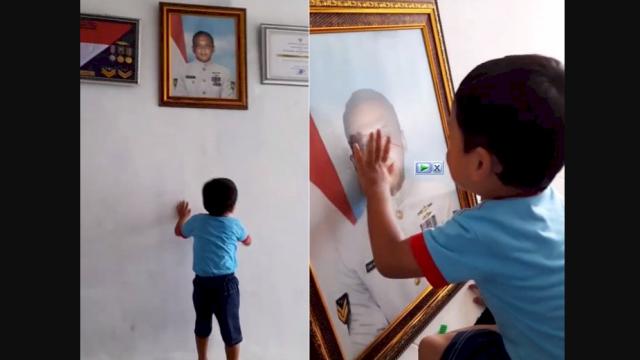 Momen Haru Putra Awak KRI Nanggala 402 Mulai Rindukan Ayahnya, Elus dan Cium Foto