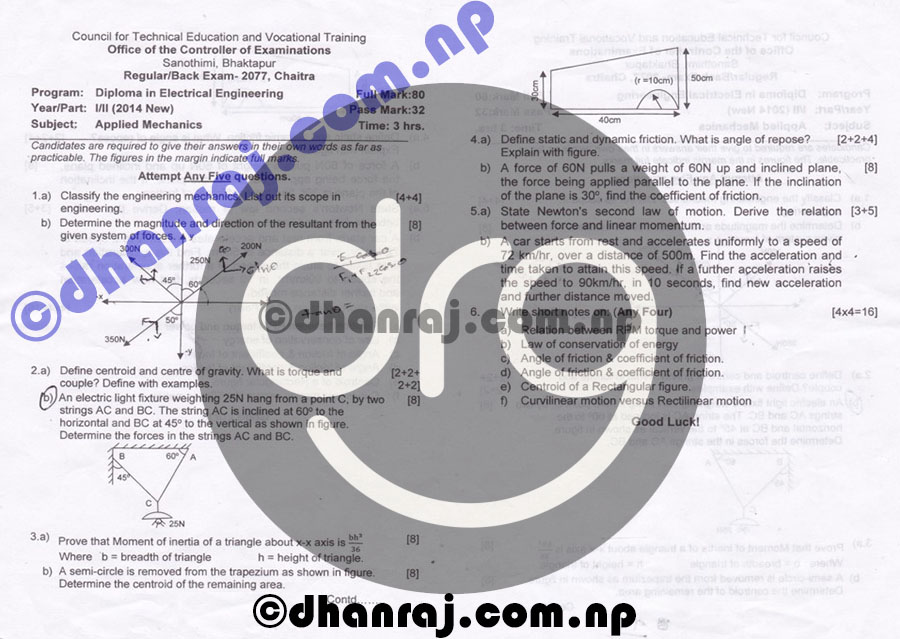 Applied-Mechanics-Question-Paper-2077-CTEVT-Diploma-1st-Year-2nd-Part