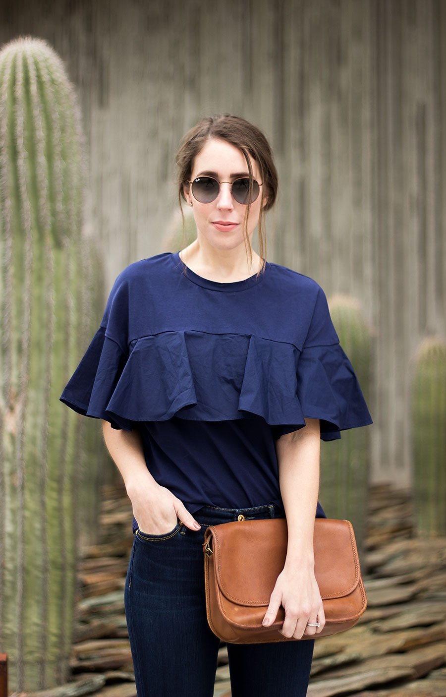 Ruffle tee shirt, blue tee shirt, Nordstrom Ruffle Tee, how to style flare jeans, flare jeans, Express jeans, Express flare jeans, Casual outfit for women, women's fashion, dressy casual outfit for women, Coach purse, classic Coach purse