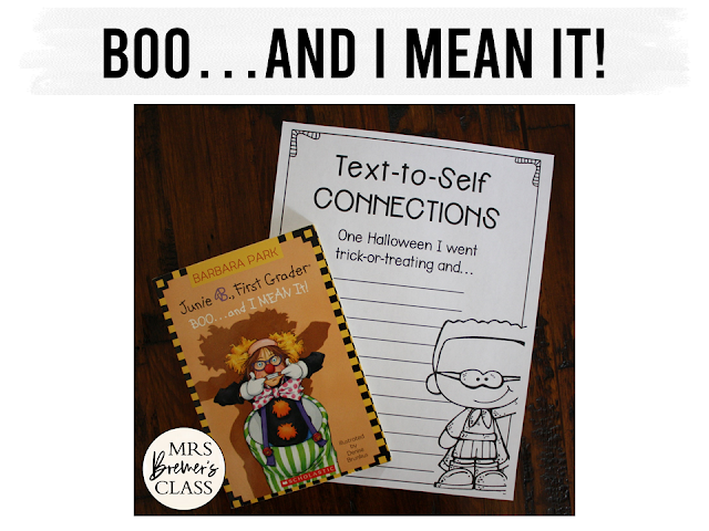Junie B Jones Boo and I Mean It book study unit Halloween Common Core literacy companion activities first grade second grade