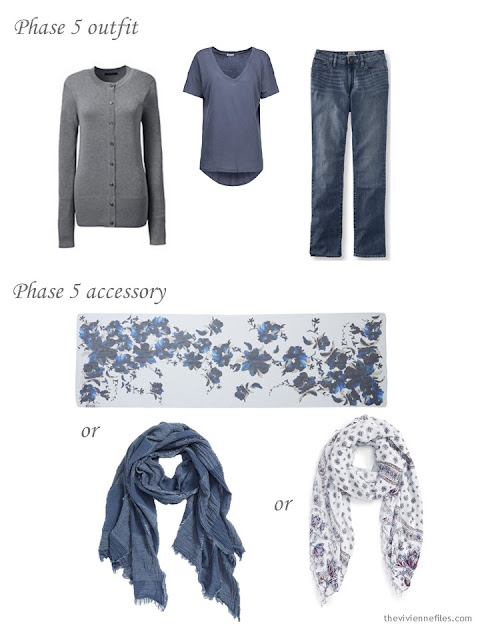 a grey and denim blue outfit, with three possible scarves