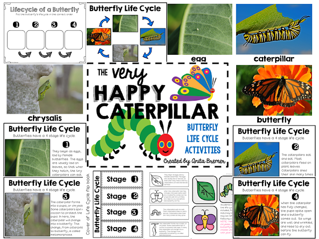 Very Hungry Caterpillar book study butterfly life cycle companion activities unit for grades K-1