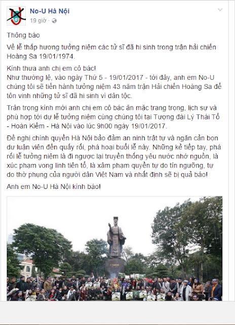 """KÊU GỌI """"TƯỞNG NIỆM NGÀY 19/1"""" – BỔN CŨ SOẠN LẠI CỦA NOU"""