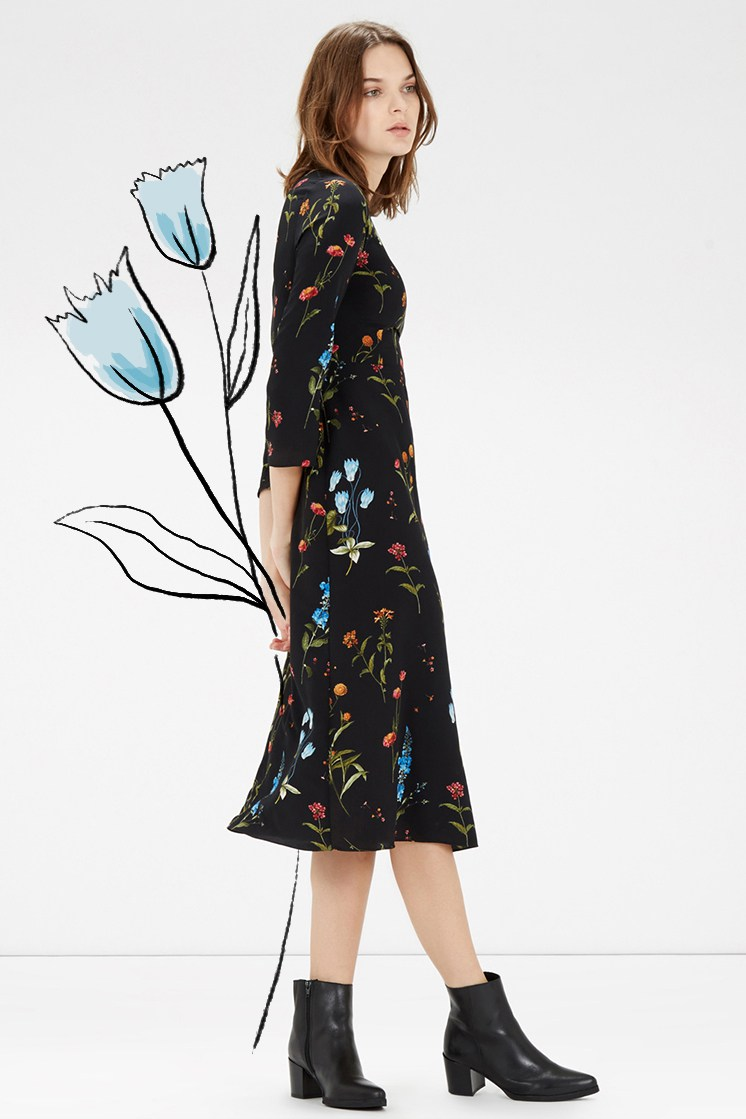 Winter Florals // Dress from Warehouse. Illustrations Brittany Jepsen
