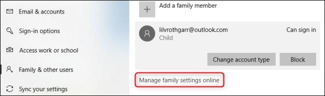 Windows 10 إدارة إعدادات العائلة