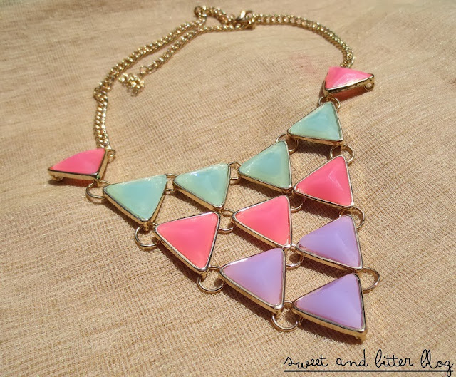 Pastel Triangle Geometric Tier Statement Necklace from Globus