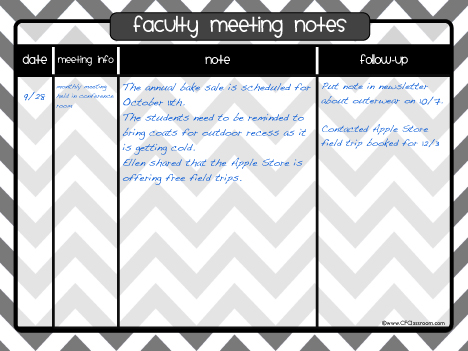 printable meeting notes template