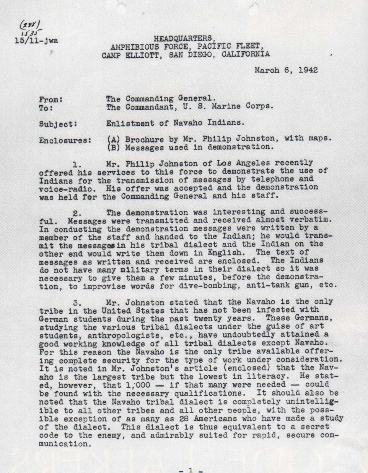 A memorandum from Marine Corps Major General Clayton B. Vogel recommending the enlistment of 200 Navajo code talkers.