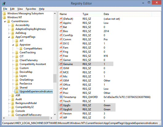 editing registry values to get windows 10 reservation icon