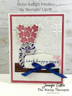 This happy news card uses Stampin' Up!'s Boho Indigo Medley, Tin Tile embossing folder, and Tasteful Labels dies.  Click the photo to go to video and supply list.  #StampinUp #StampTherapist