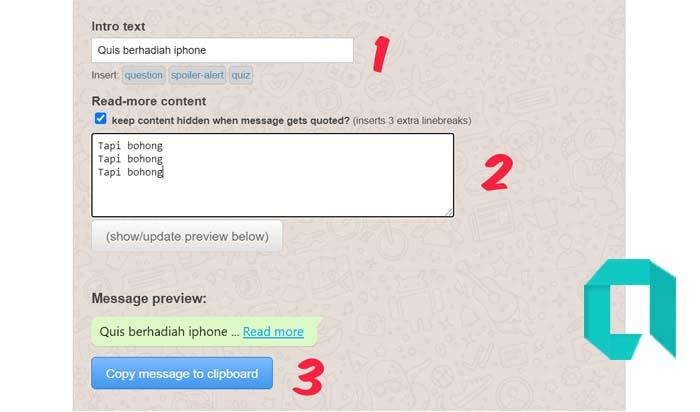Cara Membuat Tulisan Baca Selengkapnya Di WhatsApp Tanpa Aplikasi Tambahan