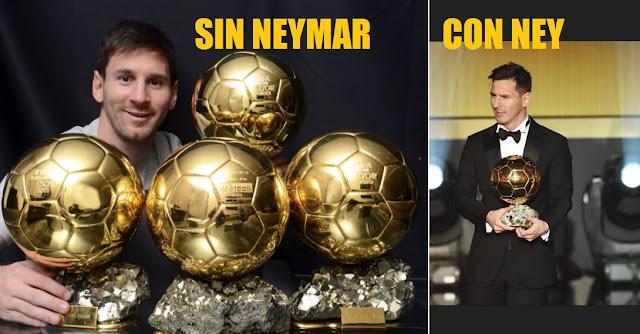 Las comparaciones son odiosas. Messi con y sin Neymar. Balones de Oro