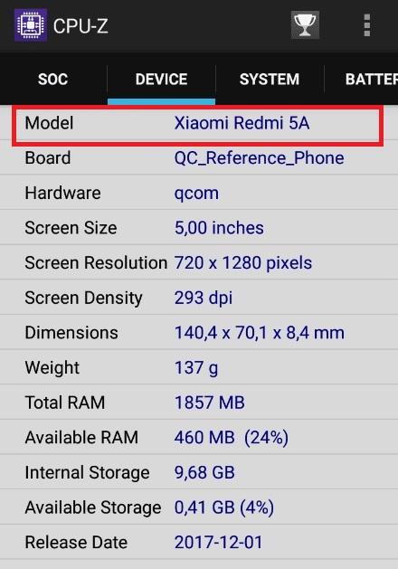 Cek tipe Hp Xiaomi dari CPU-Z