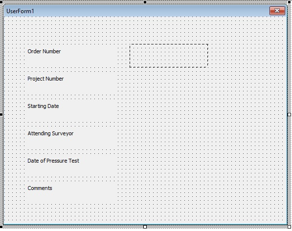 Click on the VBA form and create a rectangle shape