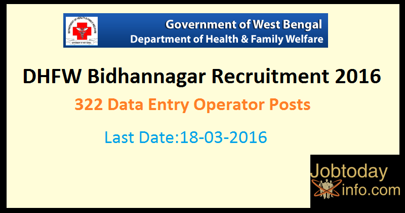 DHFW Bidhannagar Recruitment 2016 – Apply Online for 322 Data Entry Operator Posts