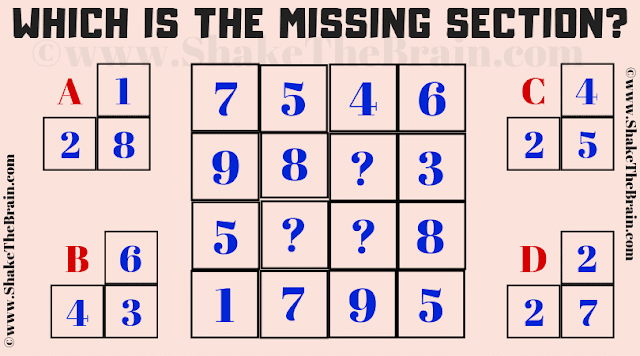 In this missing section maths puzzle, your challenge is to find the section which is missing from the given square