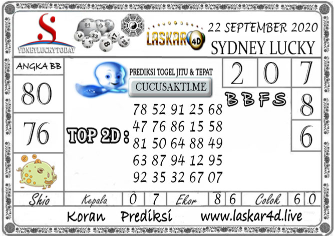 Prediksi Sydney Lucky Today LASKAR4D 22 SEPTEMBER 2020