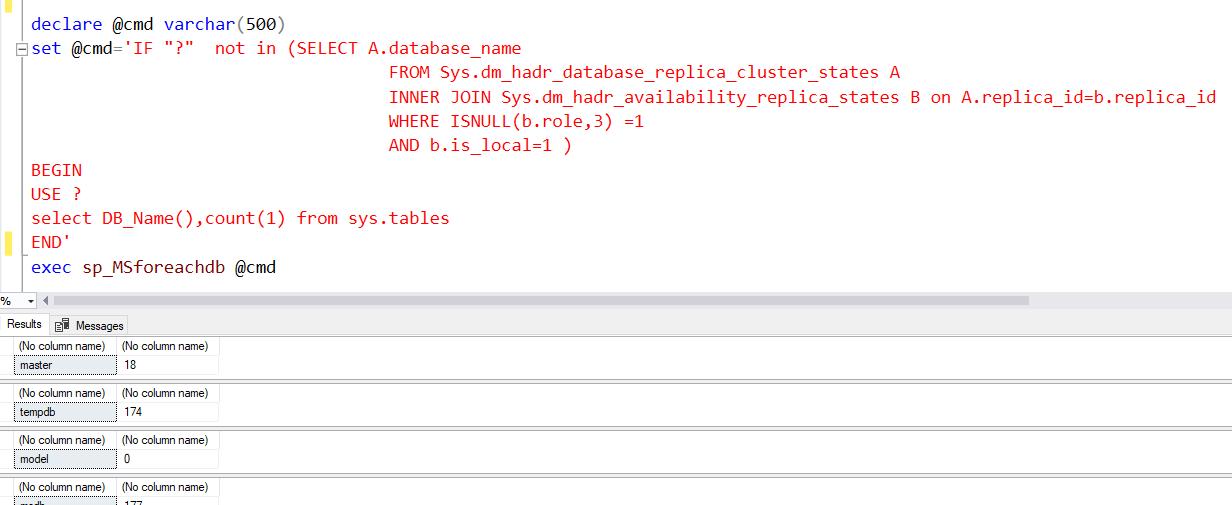 Sp_MSForeachdb iterate through all DBs SQL Server 5