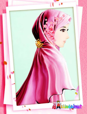 kartun gambar muslimah cantik berhijab merah