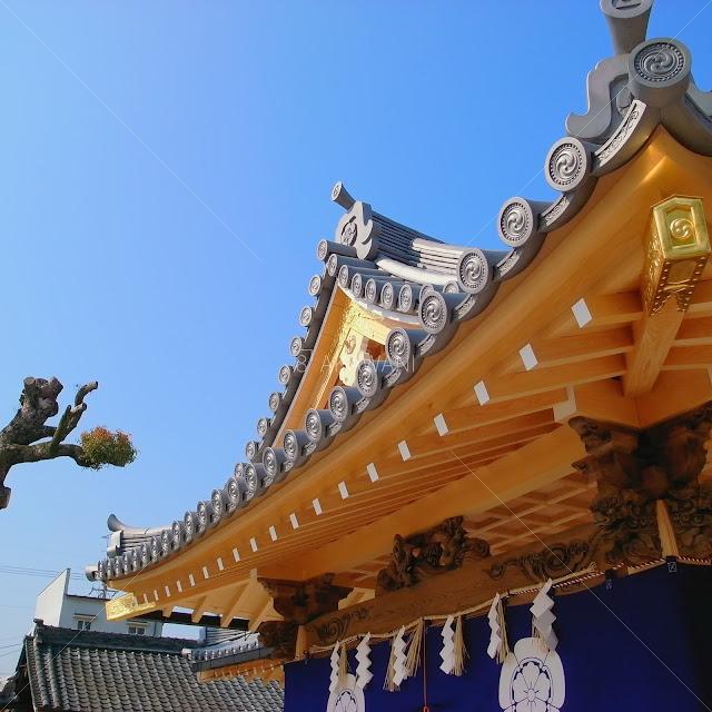 奈良県田原本町 津島神社 祇園神社 拝殿向拝の破風散らし飾り金物と隅木飾り金具