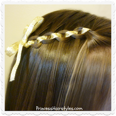 Waterfall chain braid with ribbon accent, video tutorial