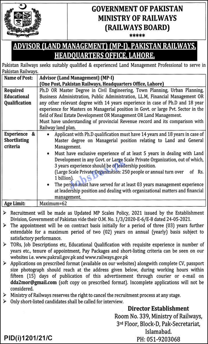 Pakistan Railways Jobs 2021 – PR Jobs Application Form – pakrail.gov.pk