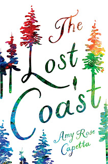 """Rainbow text and outlines against a white background show a sketch of some trees with """"THE LOST COAST"""" and """"Amy Rose Capetta"""" visible against the white."""