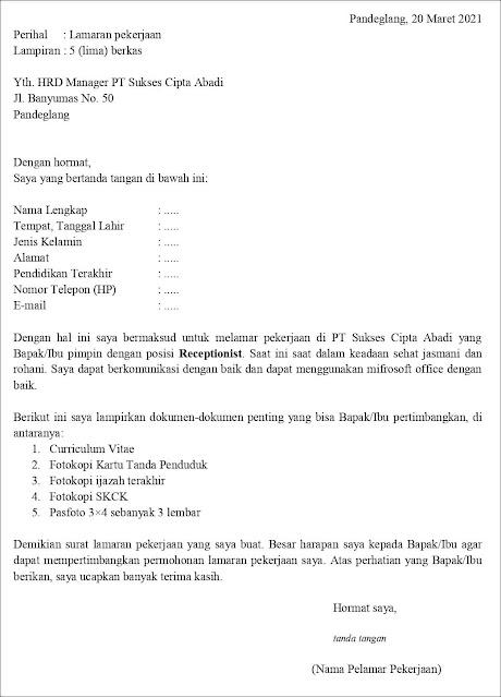 Contoh Surat Lamaran Kerja Untuk Receptionist Fresh Graduate Tanpakoma