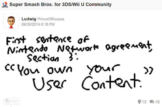 Nintendo Network Services Agreement Miiverse you own your user content