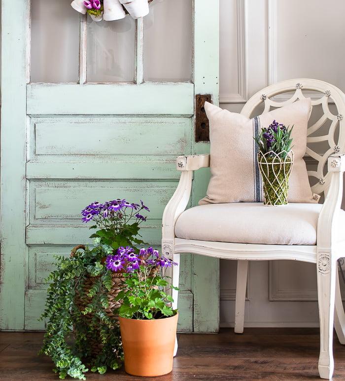 purple flowers cottage farmhouse