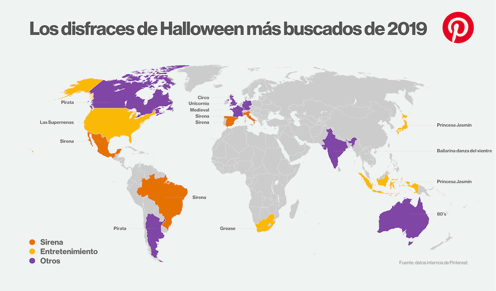 Ranking mundial de disfraces individuales para halloween 2019