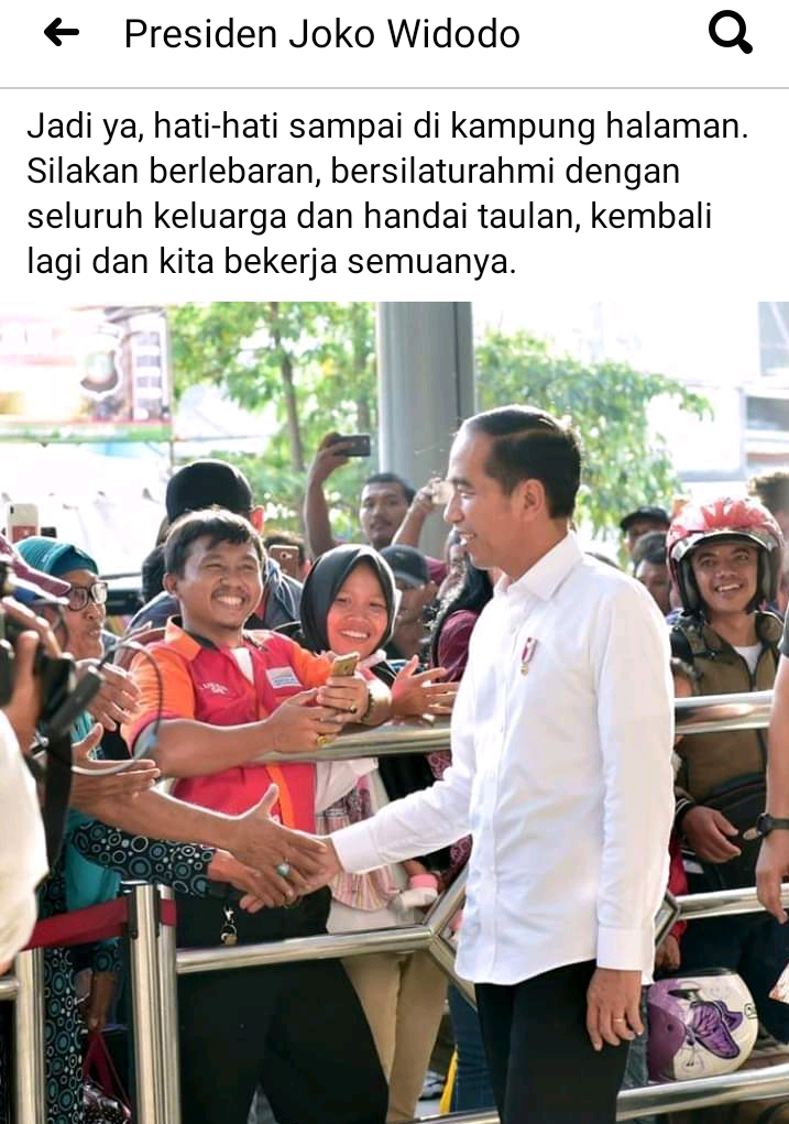 Gara-gara Mudik vs Pulang Kampung, Status Facebook Jokowi 2019 Muncul Lagi