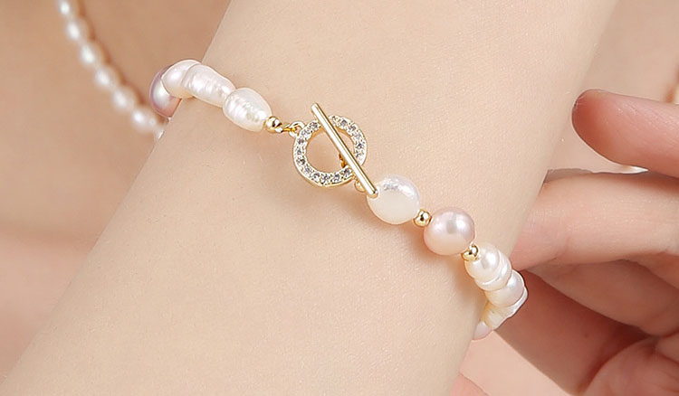 個性風不規則雙色淡水真珍珠手鍊