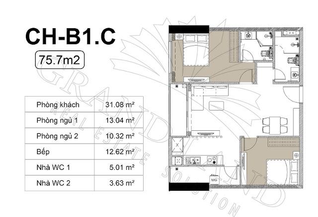 Thiết kế căn 2 ngủ chung cư Harmony Square
