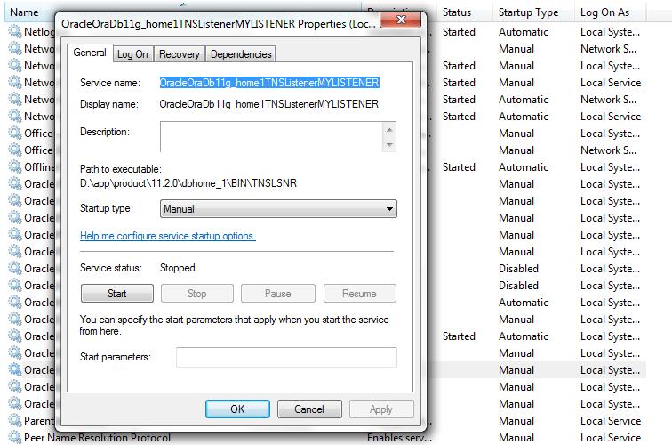 Delete oracle database manually