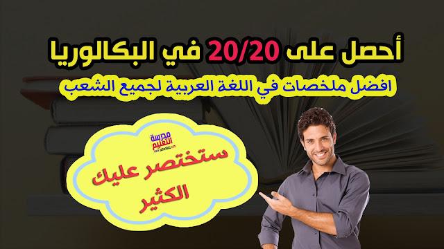 أفضل ملخصات في اللغة العربية سنة 3 ثانوي لجميع الشعب بكالوريا